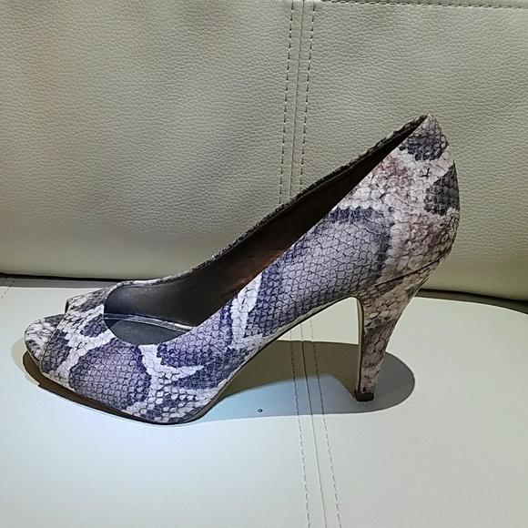 1e19c51a929 Fergie Fergalicious Snake Skin Open Toe Heels